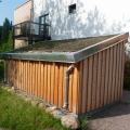 Holzschuppen Hinterhof Blickwinkel